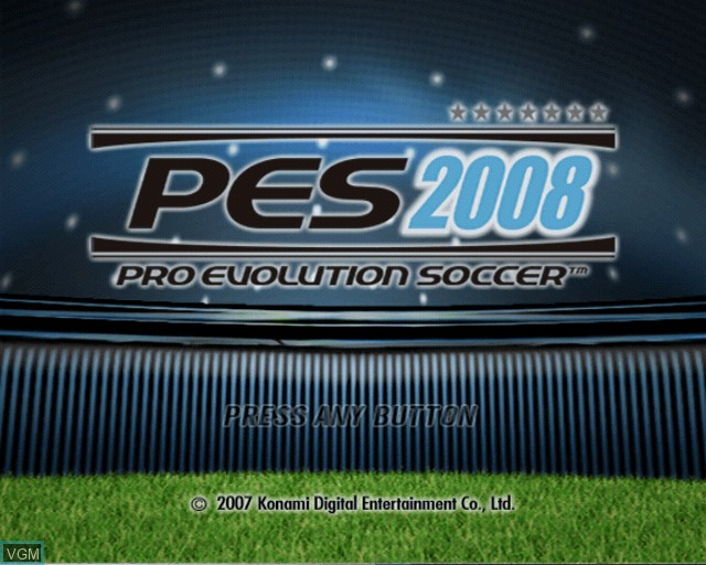 Title screen of the game Pro Evolution Soccer 2008 on Sony Playstation 2