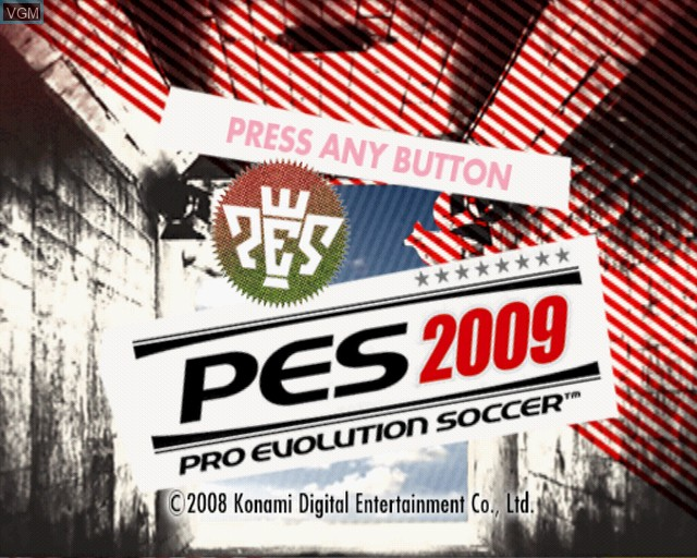 Title screen of the game Pro Evolution Soccer 2009 on Sony Playstation 2