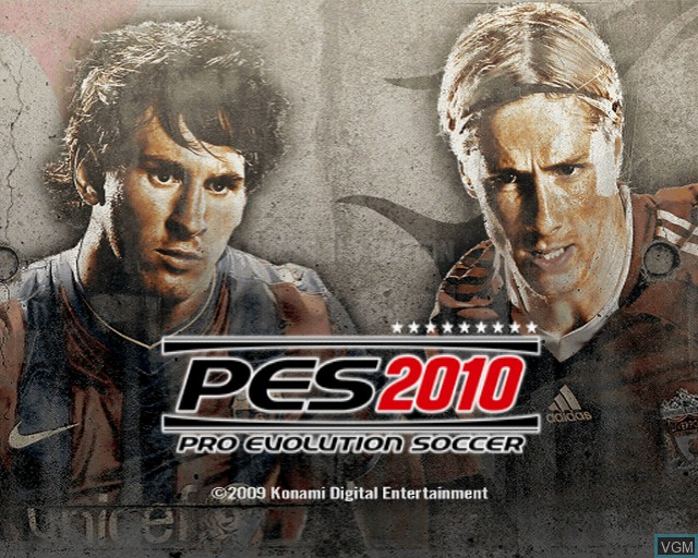 Title screen of the game Pro Evolution Soccer 2010 on Sony Playstation 2