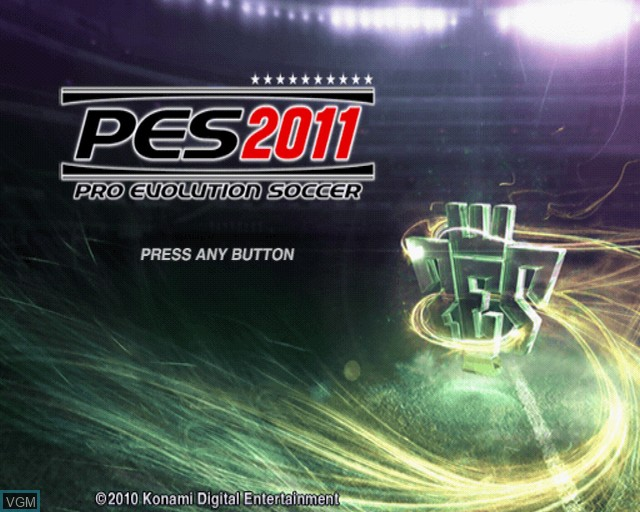 Title screen of the game Pro Evolution Soccer 2011 on Sony Playstation 2