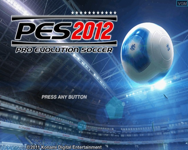 Title screen of the game Pro Evolution Soccer 2012 on Sony Playstation 2