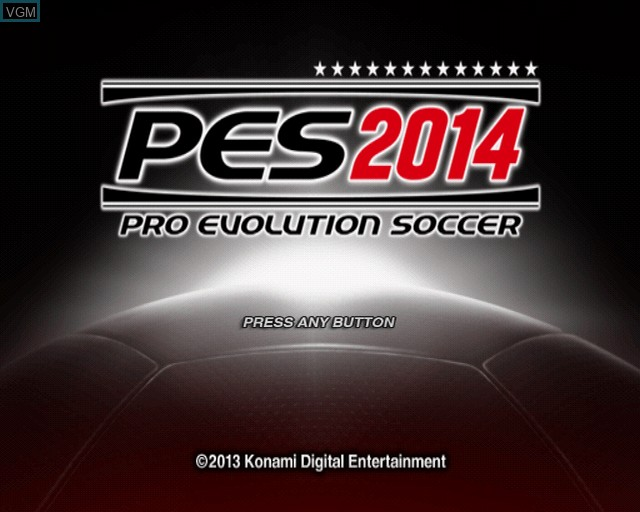Title screen of the game Pro Evolution Soccer 2014 on Sony Playstation 2