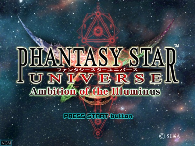 Title screen of the game Phantasy Star Universe - Ambition of the Illuminus on Sony Playstation 2