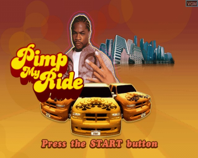 Title screen of the game Pimp My Ride on Sony Playstation 2