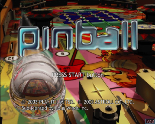 Title screen of the game Pinball on Sony Playstation 2