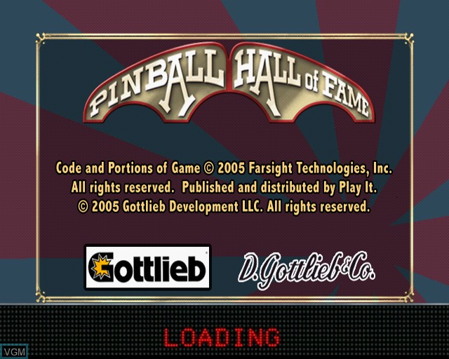 Title screen of the game Pinball Hall of Fame - The Gottlieb Collection on Sony Playstation 2