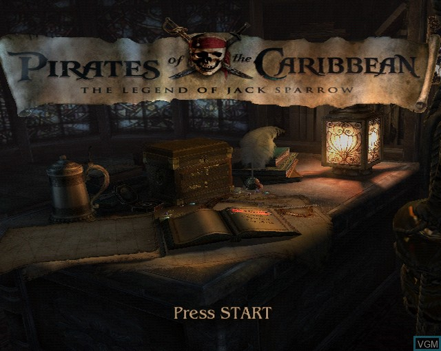 Title screen of the game Pirates of the Caribbean - The Legend of Jack Sparrow on Sony Playstation 2