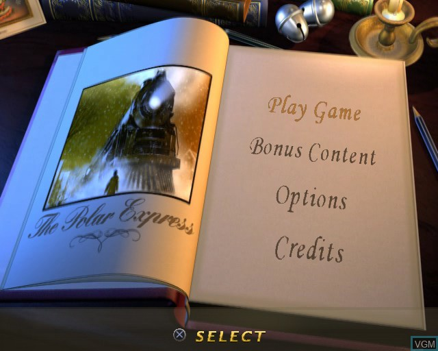 Title screen of the game Polar Express, The on Sony Playstation 2