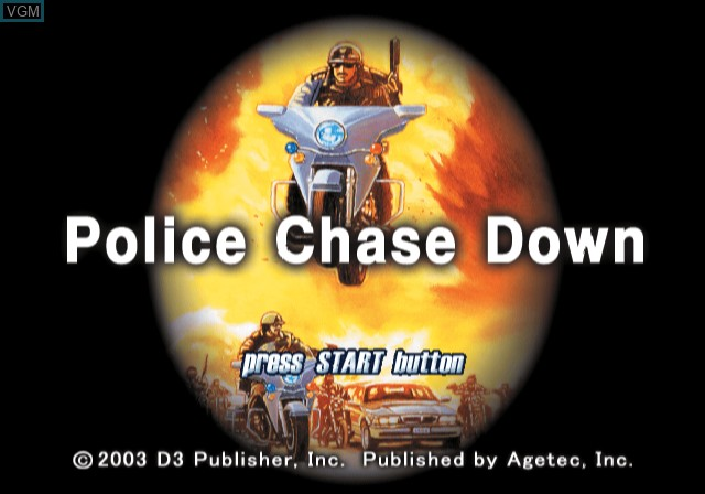 Title screen of the game Police Chase Down on Sony Playstation 2