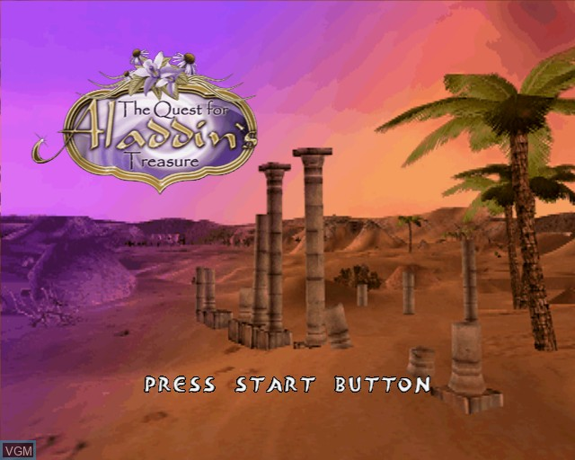 Title screen of the game Quest for Aladdin's Treasure, The on Sony Playstation 2