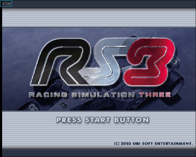 Title screen of the game Racing Simulation 3 on Sony Playstation 2