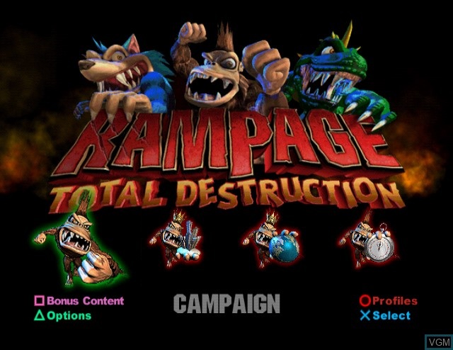 Title screen of the game Rampage - Total Destruction on Sony Playstation 2
