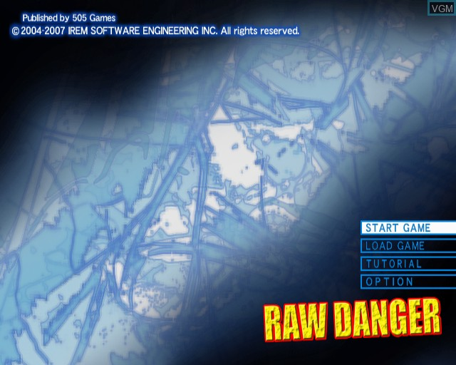 Title screen of the game Raw Danger! on Sony Playstation 2
