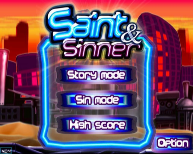 Title screen of the game Saint & Sinner on Sony Playstation 2