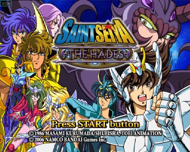 Title screen of the game Saint Seiya - The Hades on Sony Playstation 2