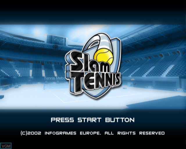 Title screen of the game Slam Tennis on Sony Playstation 2