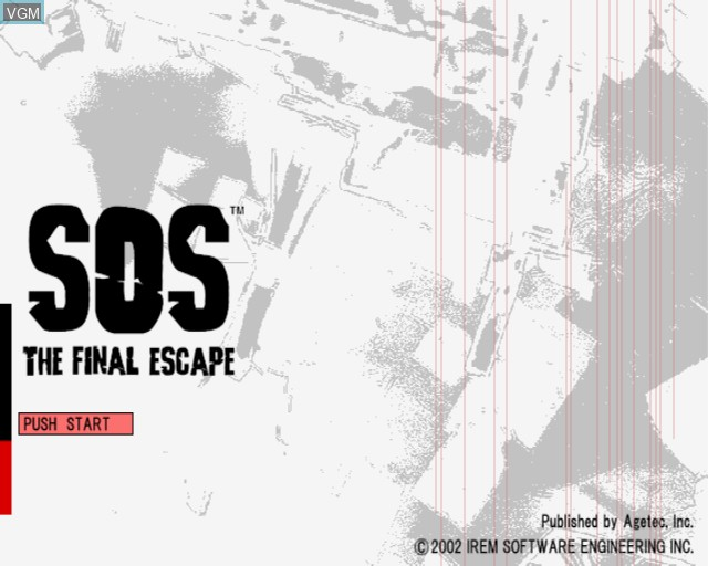 Title screen of the game S.O.S. - The Final Escape on Sony Playstation 2