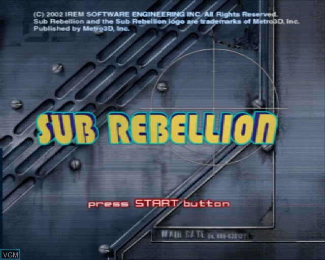 Title screen of the game Sub Rebellion on Sony Playstation 2