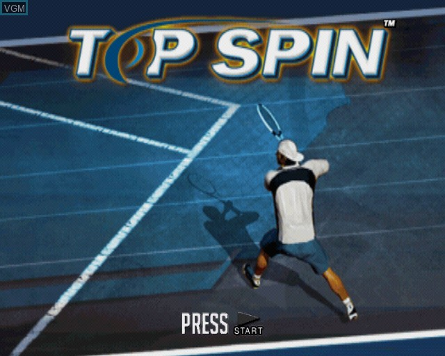 Title screen of the game Top Spin on Sony Playstation 2