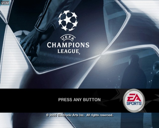 Title screen of the game UEFA Champions League 2004-2005 on Sony Playstation 2