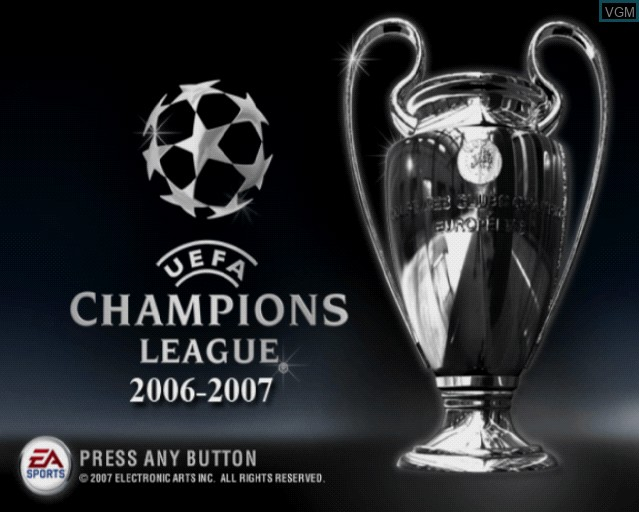 Title screen of the game UEFA Champions League 2006-2007 on Sony Playstation 2