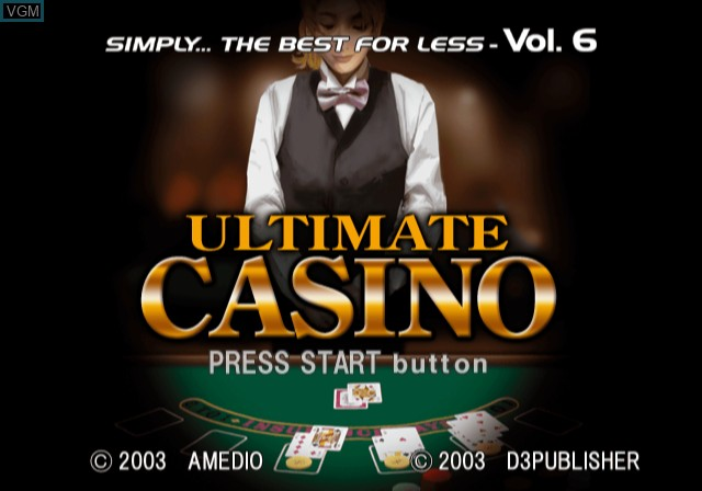 Title screen of the game Ultimate Casino on Sony Playstation 2
