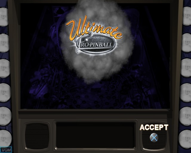 Title screen of the game Ultimate Pro Pinball on Sony Playstation 2