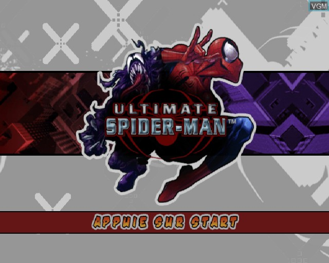 Title screen of the game Ultimate Spider-Man on Sony Playstation 2