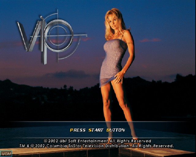 Title screen of the game V.I.P. on Sony Playstation 2