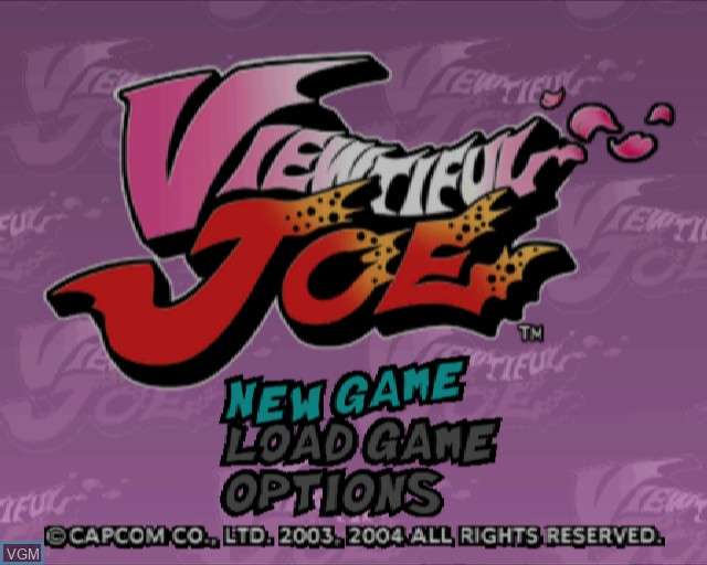 Title screen of the game Viewtiful Joe on Sony Playstation 2