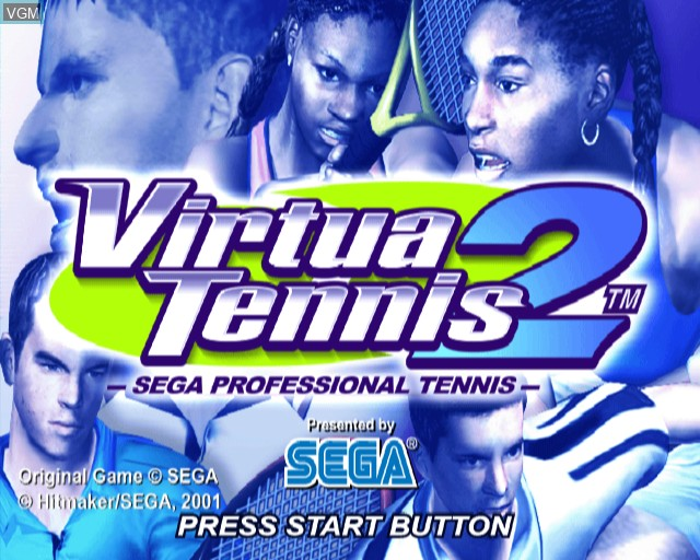 Title screen of the game Virtua Tennis 2 on Sony Playstation 2