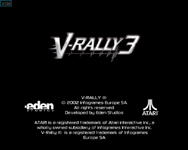 Title screen of the game V-Rally 3 on Sony Playstation 2