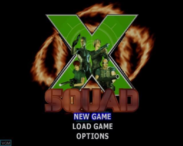 Title screen of the game X-Squad on Sony Playstation 2