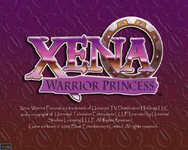 Title screen of the game Xena Warrior Princess on Sony Playstation 2