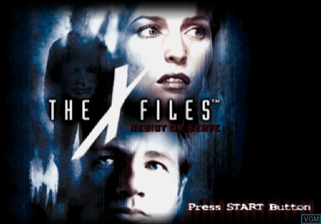 Title screen of the game X-Files, The - Resist or Serve on Sony Playstation 2