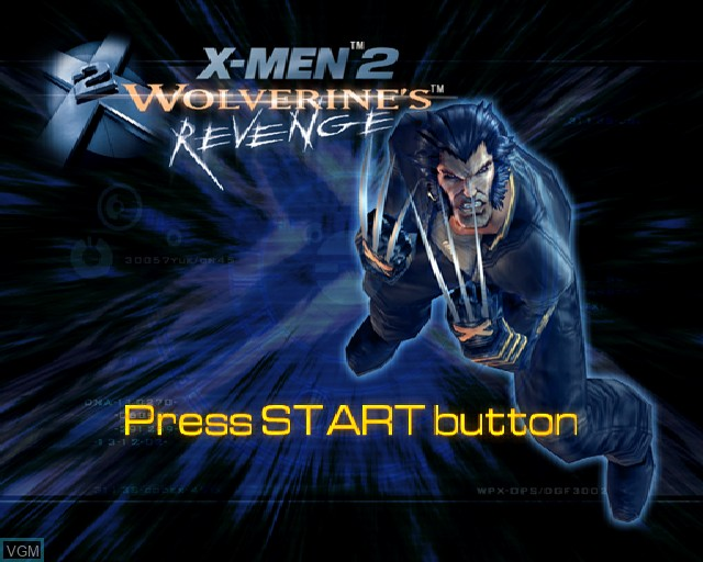 Title screen of the game X-Men 2 - Wolverine's Revenge on Sony Playstation 2