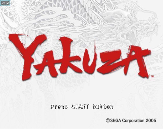 Title screen of the game Yakuza on Sony Playstation 2