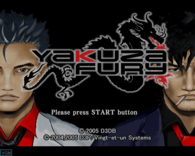 Title screen of the game Yakuza Fury on Sony Playstation 2