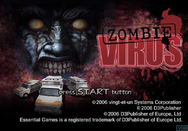 Title screen of the game Zombie Virus on Sony Playstation 2