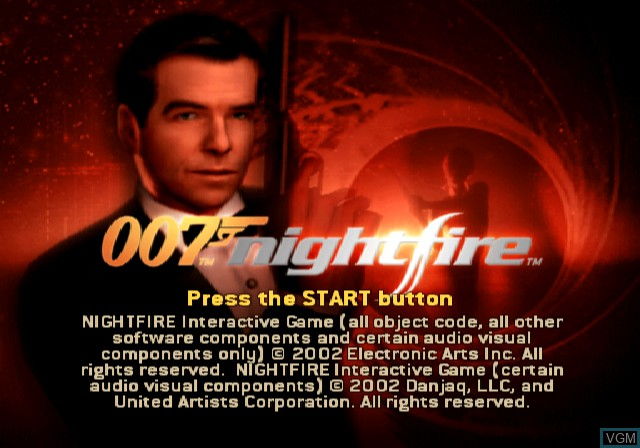 Title screen of the game 007 - NightFire on Sony Playstation 2