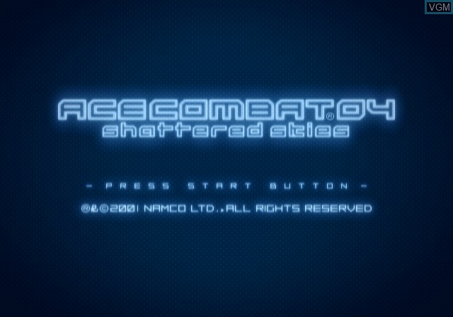 Title screen of the game Ace Combat 04 - Shattered Skies on Sony Playstation 2