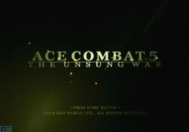 Title screen of the game Ace Combat 5 - The Unsung War on Sony Playstation 2