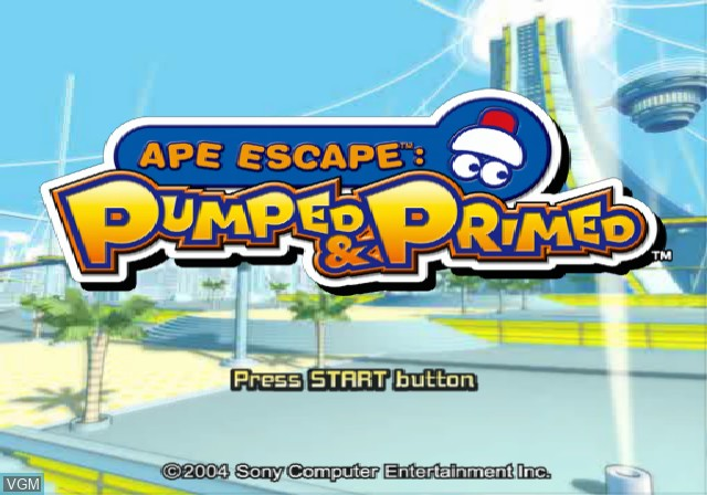 Title screen of the game Ape Escape - Pumped & Primed on Sony Playstation 2