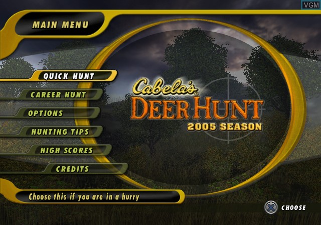 Title screen of the game Cabela's Deer Hunt 2005 Season on Sony Playstation 2