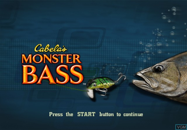 Title screen of the game Cabela's Monster Bass on Sony Playstation 2