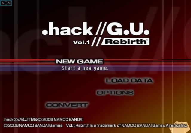 Title screen of the game .hack//G.U. Vol. 1//Rebirth on Sony Playstation 2