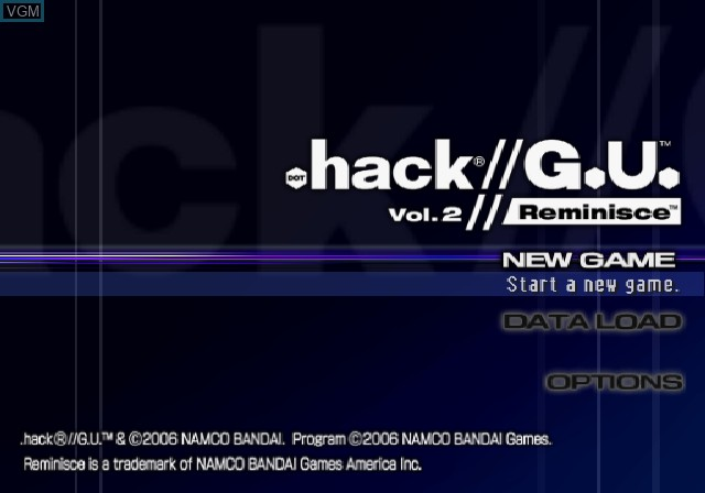 Title screen of the game .hack//G.U. Vol. 2//Reminisce on Sony Playstation 2