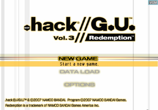Title screen of the game .hack//G.U. Vol. 3//Redemption on Sony Playstation 2