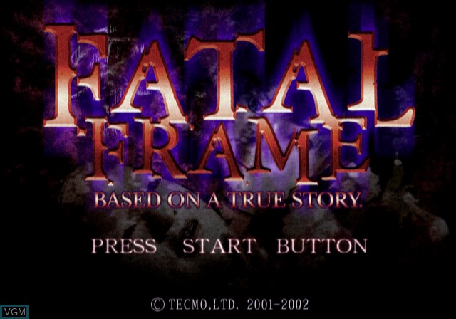 Title screen of the game Fatal Frame on Sony Playstation 2