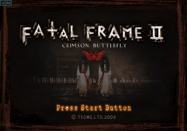 Title screen of the game Fatal Frame II - Crimson Butterfly on Sony Playstation 2